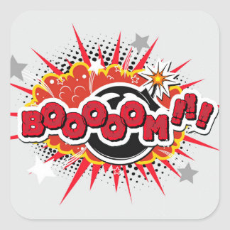 Comic Book Pop Art Boom Explosion Square Sticker