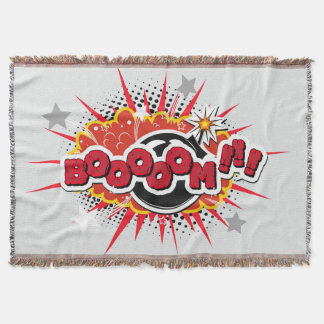Comic Book Pop Art Boom Explosion Throw Blanket