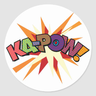 Comic Book Pop Art KA-POW! Classic Round Sticker