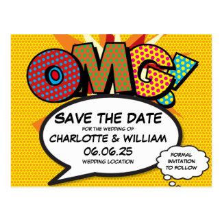 Comic Book Pop Art OMG Save the Date Postcard