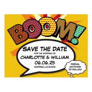 Comic Book Pop Art Wedding BOOM Save the Date Postcard