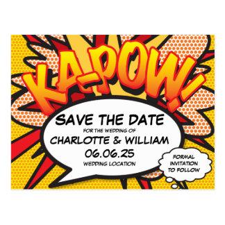 Comic Book Pop Art Wedding KA-POW Save the Date Postcard