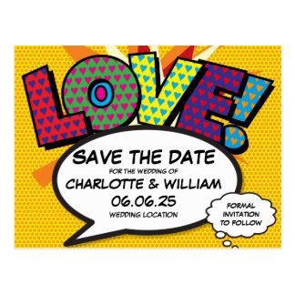 Comic Book Pop Art Wedding Love Save the Date Postcard