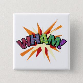 Comic Book Pop Art WHAM! 2 Inch Square Button