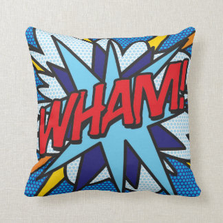 Comic Book Pop Art WHAM! OMG! Throw Pillow
