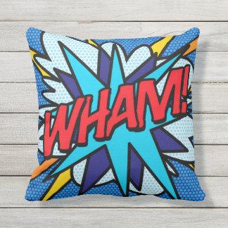 Comic Book Pop Art WHAM! ZAP! double sided Throw Pillow