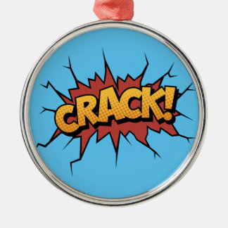 Comic Book Sound Effect - Crack! Pop Art Silver-Colored Round Ornament