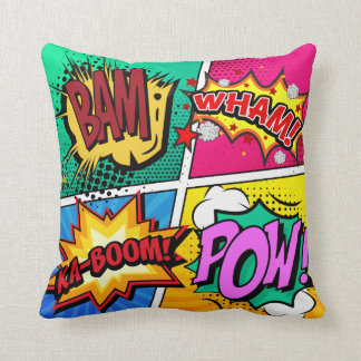 Comic Book Sound Effects Throw Pillow