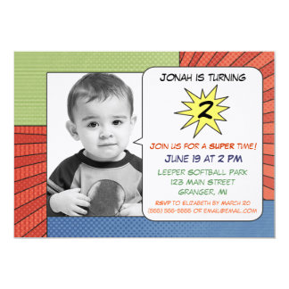 Comic Book Stripes Birthday Party Invitations