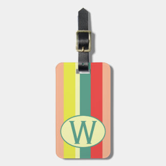 Comic Book Stripes Monogram Luggage Tag