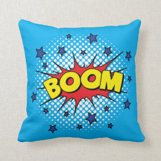 Comic Book Style Colorful BOOM Throw Pillow