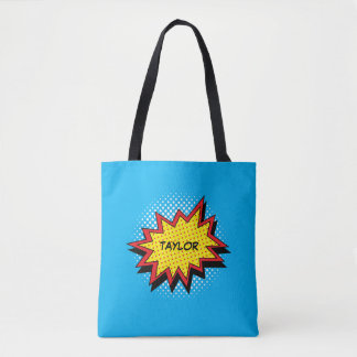 Comic Book Style Colorful Name Red Tote Bag