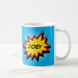 Comic Book Style Colourful Custom Name Classic White Coffee Mug