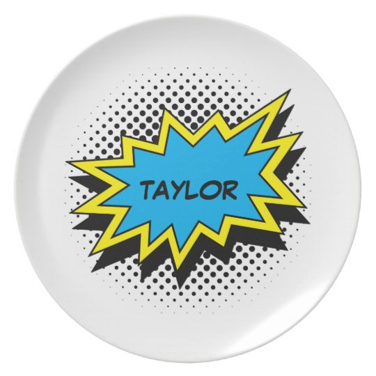 Comic Book Style Colourful Name Blue Plate