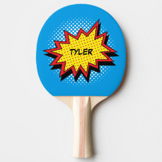 Comic Book Style Colourful Name Ping Pong Paddle