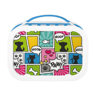 Comic Book Style Pet Pattern Lunch Box