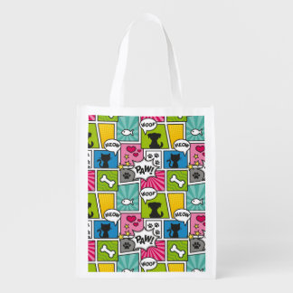 Comic Book Style Pet Pattern Reusable Grocery Bag