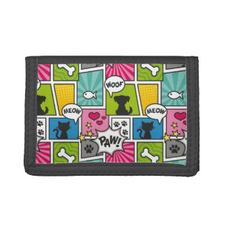 Comic Book Style Pet Pattern Trifold Wallet