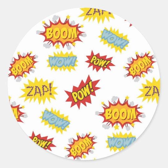 Comic book style sound effect pattern classic round sticker
