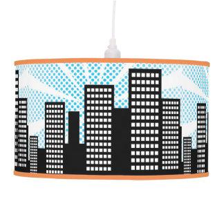 Comic Book Super Hero Boys Bedroom Decor Blue City Pendant Lamp