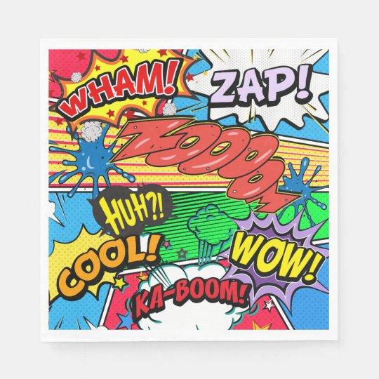 Comic Book Superhero Birthday Boy Napkins Paper Napkins