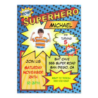 "Comic Book Superhero Photo Insert Birthday Party 4.5"" X 6.25"" Invitation Card"