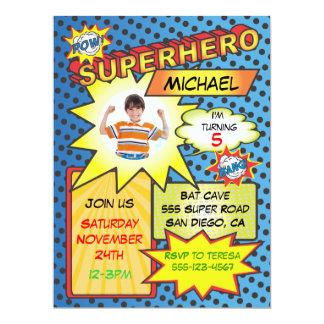 "Comic Book Superhero Photo Insert Birthday Party 6.5"" X 8.75"" Invitation Card"