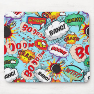 Comic Book Text & Word Bubbles Mouse Pad