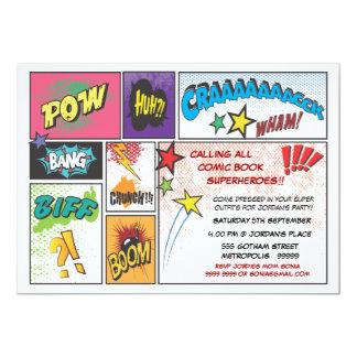 Comic Book Typography Boys Birthday Party Invite