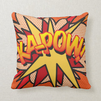 Comic Book WHAM! KA-POW! Throw Pillow