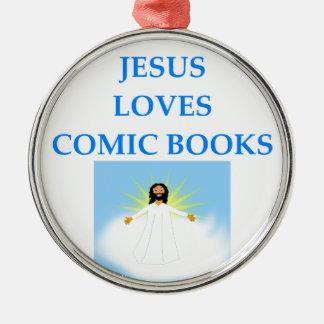 COMIC BOOKS Silver-Colored ROUND ORNAMENT
