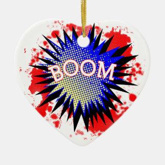 Comic Boom Ceramic Heart Ornament