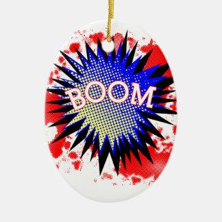 Comic Boom Ceramic Oval Ornament