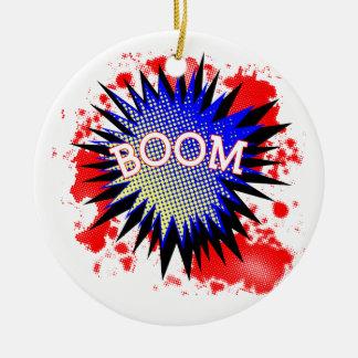 Comic Boom Round Ceramic Ornament