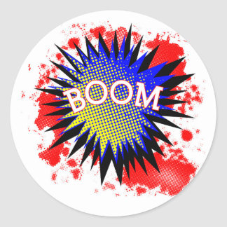 Comic Boom Round Sticker