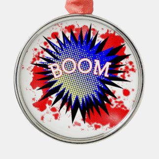Comic Boom Silver-Colored Round Ornament