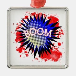 Comic Boom Silver-Colored Square Ornament
