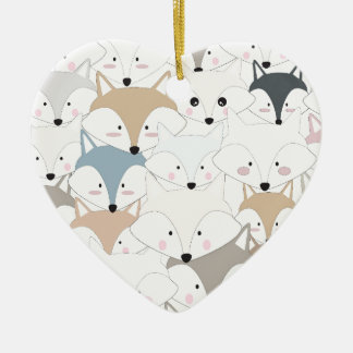 Comic cartoon cute fox or wolf pattern ceramic ornament