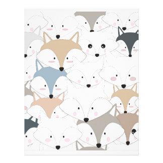 Comic cartoon cute fox or wolf pattern letterhead