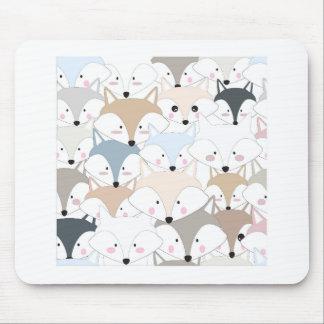 Comic cartoon cute fox or wolf pattern mouse pad