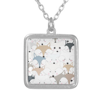Comic cartoon cute fox or wolf pattern silver plated necklace