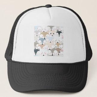 Comic cartoon cute fox or wolf pattern trucker hat