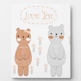 Comic cartoon cute valentine couple teddy bear plaque