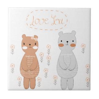 Comic cartoon cute valentine couple teddy bear tile