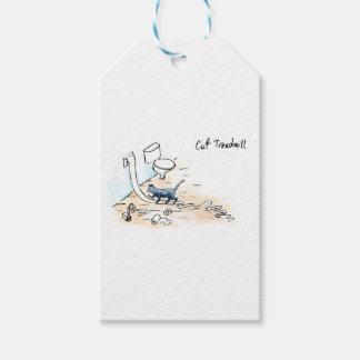 Comic cat treadmill gift tags