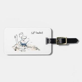 Comic cat treadmill luggage tag