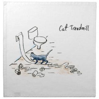 Comic cat treadmill napkin