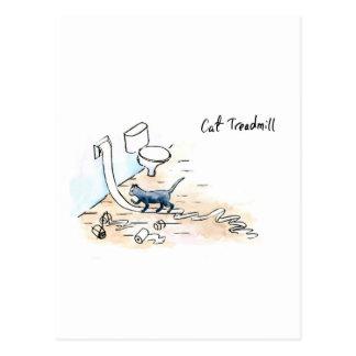 Comic cat treadmill postcard