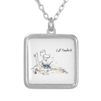 Comic cat treadmill silver plated necklace