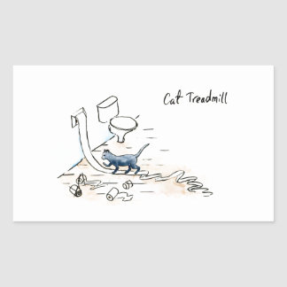 Comic cat treadmill sticker
